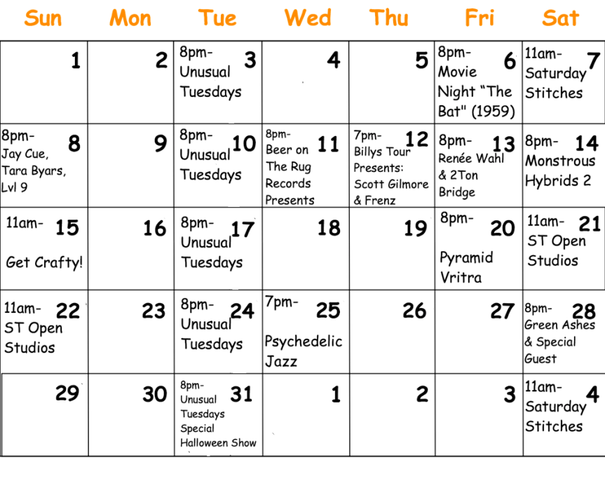 Calendar Template October png