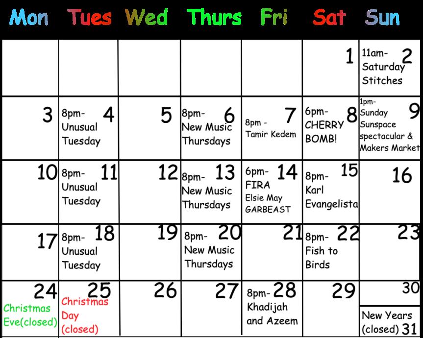 December Calendar 2018Png